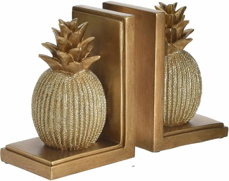 Pine Suport opritor carti ananas, Polirasina, Auriu