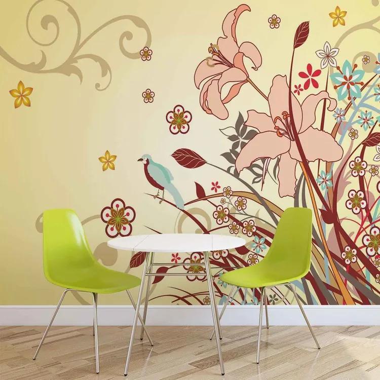 Floral Pattern Fototapet, (184 x 254 cm)