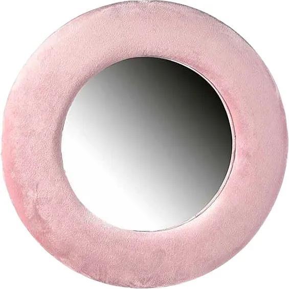 Oglinda de perete cu rama din catifea roz Ø 37 cm