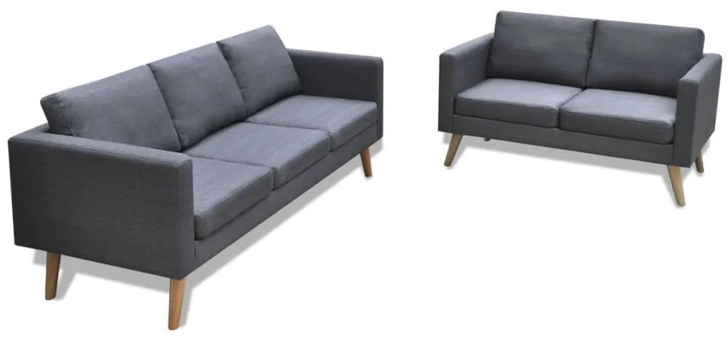 272194 vidaXL Set canapele cu 2 locuri și 3 locuri, textil, gri închis