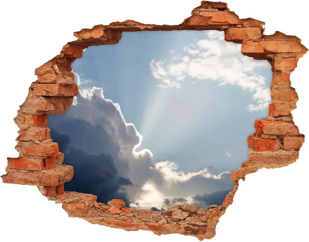 Autocolant de perete gaură 3D Nori pe cer