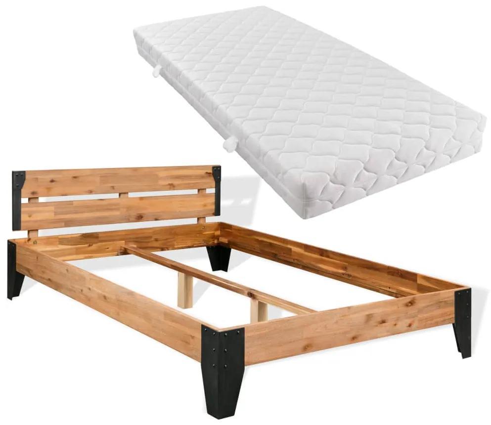 274938 vidaXL Pat cu saltea, lemn masiv de acacia, oțel, 180 x 200 cm