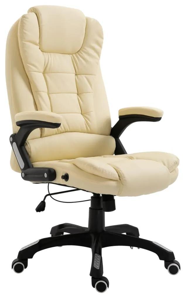 20234 vidaXL Scaun de birou, crem, piele ecologică