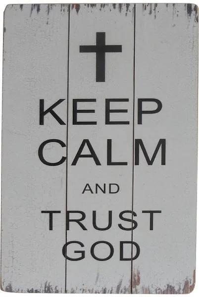 Decoratiune de perete Trust God, Lemn, 45x35 cm