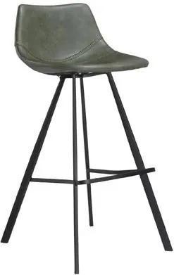 Scaun bar verde din piele Pitch Green Dan Form