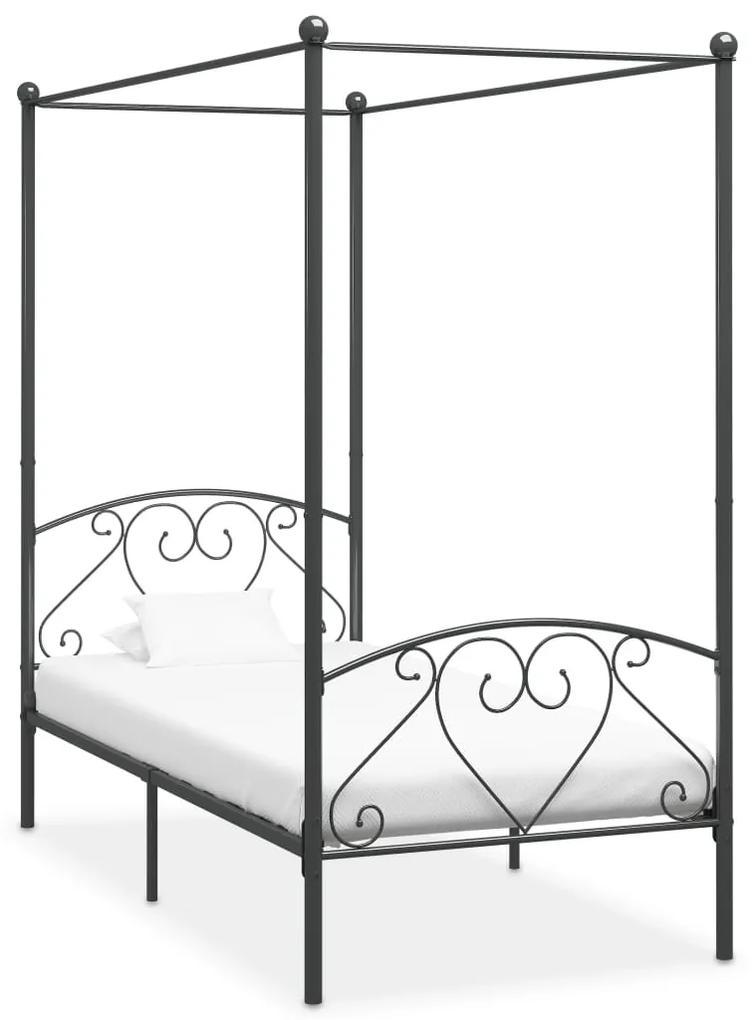 284442 vidaXL Cadru de pat cu baldachin, gri, 120 x 200 cm, metal