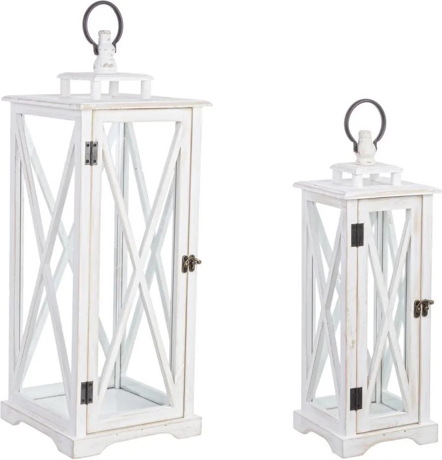 Set 2 felinare lemn alb vintage cu sticla Baita 17 cm x 17 cm x 48 h; 24 cm x 24 cm x 63  h