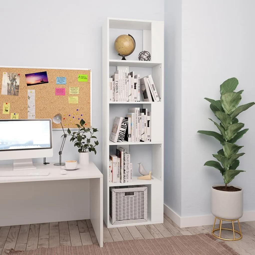 800108 vidaXL Bibliotecă/Separator cameră, alb, 45x24x159cm, PAL