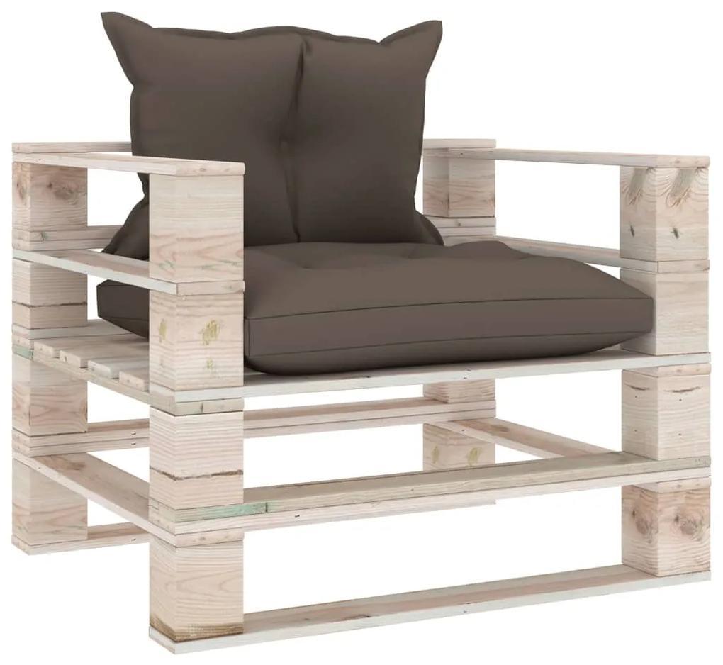 3066041 vidaXL Canapea de grădină din paleți, perne gri taupe, lemn de pin