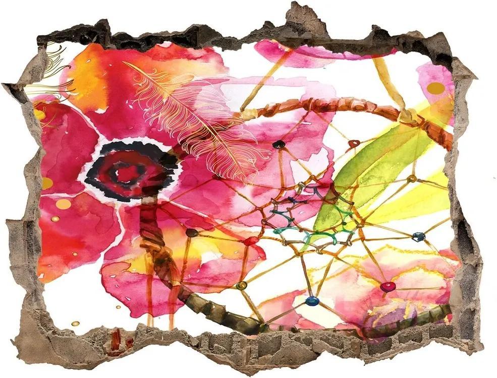 Fototapet un zid spart cu priveliște Model floral