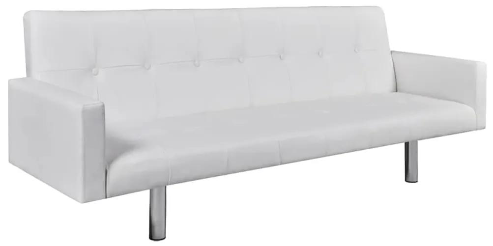 242215 vidaXL Canapea extensibilă cu brațe, alb, piele artificială