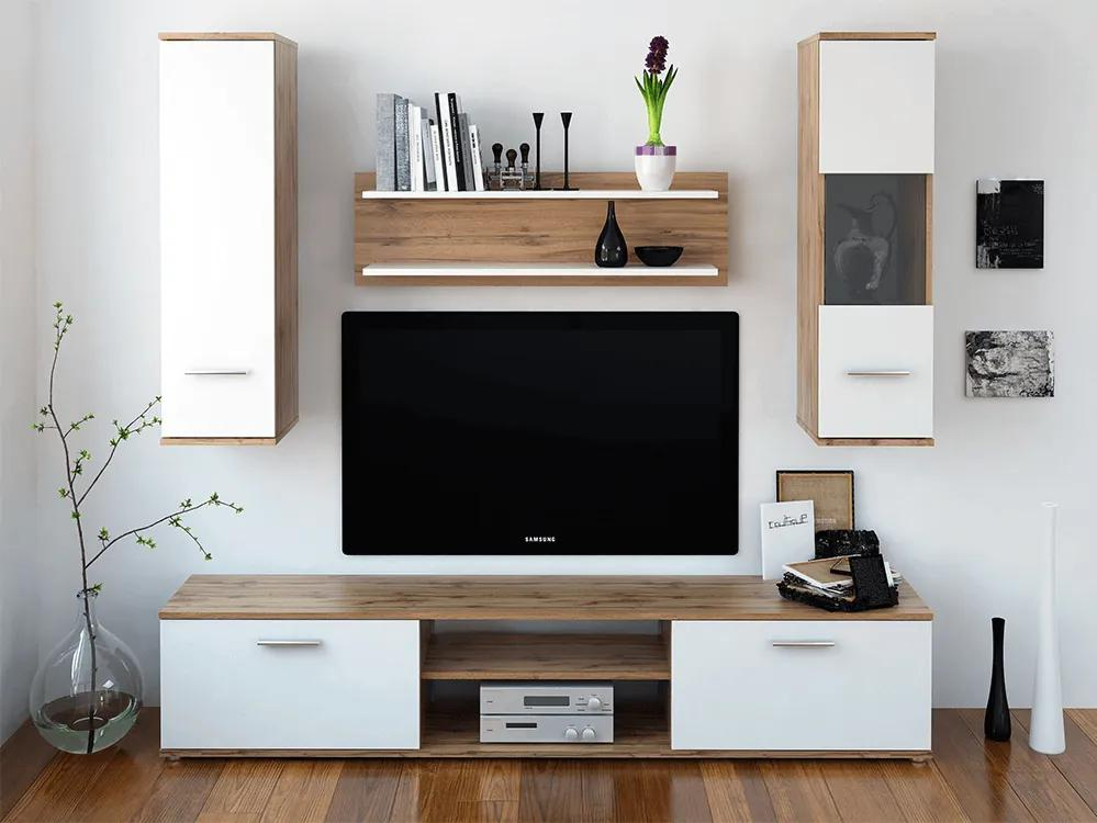 Mobilier pentru living, stejar wotan/alb, WAW NEW