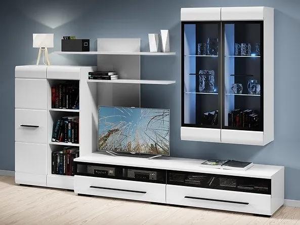Mobilier FEVER WHITE - Set living 6 piese Alb, alb lucios insertie negru, 280 cm, 50 cm, cm, Set living 6 piese