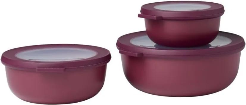Set 3 cutii pentru gustări Rosti Mepal Cirqula, roșu închis
