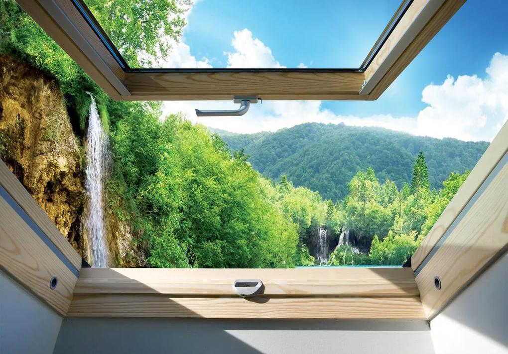 Fototapet - Privire spre geam și cascadă (152,5x104 cm), în 8 de alte dimensiuni noi