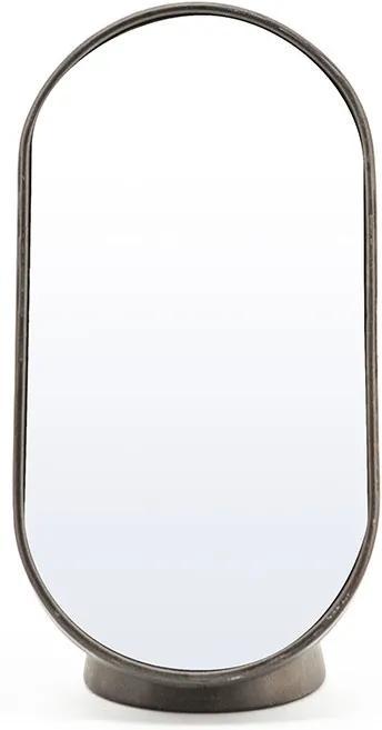 Oglinda ovala cu rama din fier aurie Vanity four, 16 x 13 x 30 cm