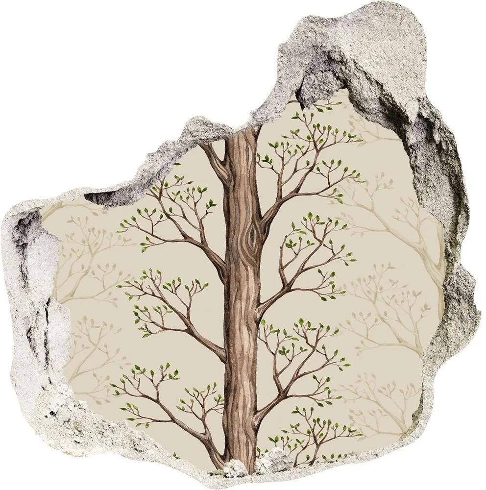 Autocolant de perete gaură 3D Copaci