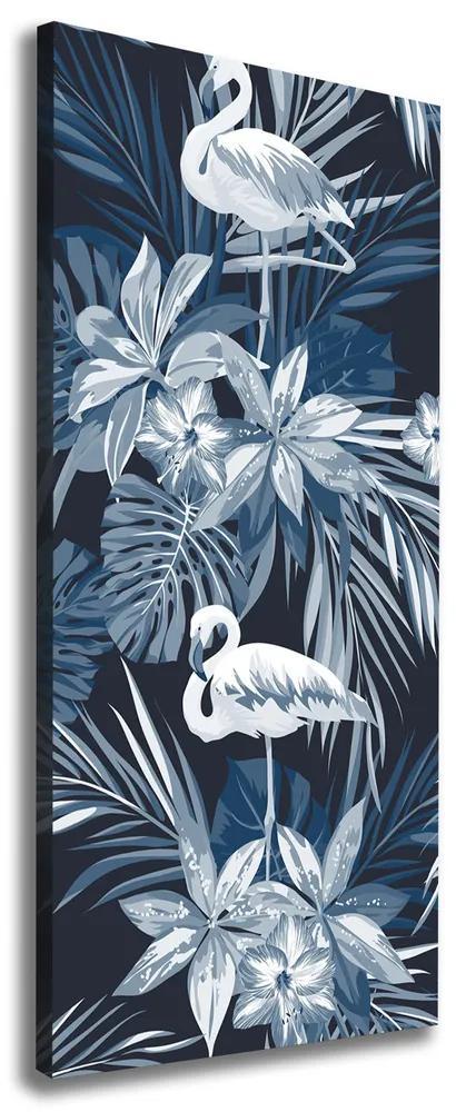 Tablou pe pânză canvas Flori și flamingo