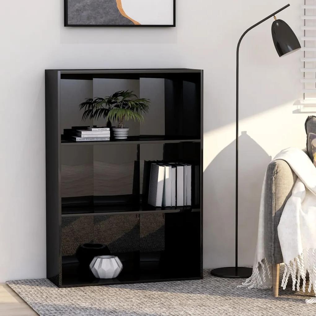 801015 vidaXL Bibliotecă cu 3 rafturi, negru extralucios, 80x30x114 cm, PAL