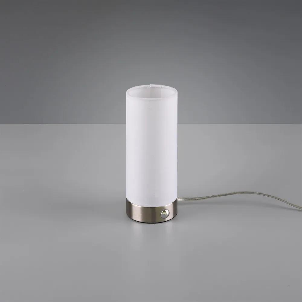 Trio R52460101 Lampa de masa de noapte EMIR alb textil incl. 5,5W LED, 3000K, 370Lm 370lm IP20 A+