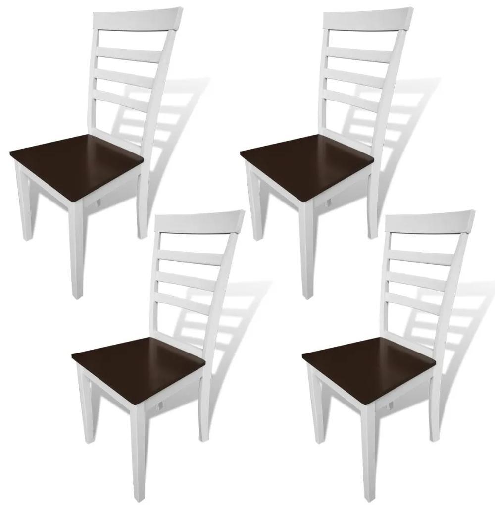 241695 vidaXL Scaune de bucătărie, 4 buc., alb și maro, lemn masiv și MDF