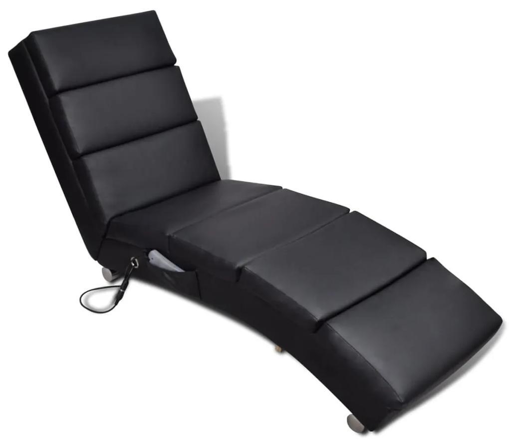 240968 vidaXL Șezlong de masaj, piele artificială, negru