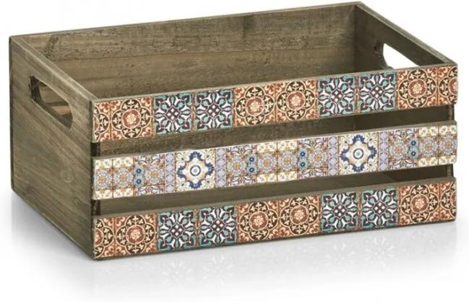 Cutie depozitare Zeller mozaic, lemn, 32x22x13.5 cm