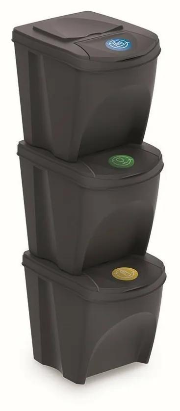 Coșuri sortare gunoi Sortibox 25 l, 3 buc., gri,