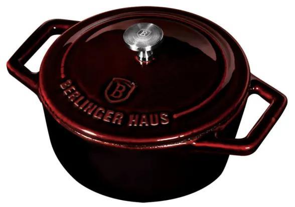 Cratita cu capac 10 cm din fonta emailata Burgundy Metallic Line Berlinger Haus BH 6495