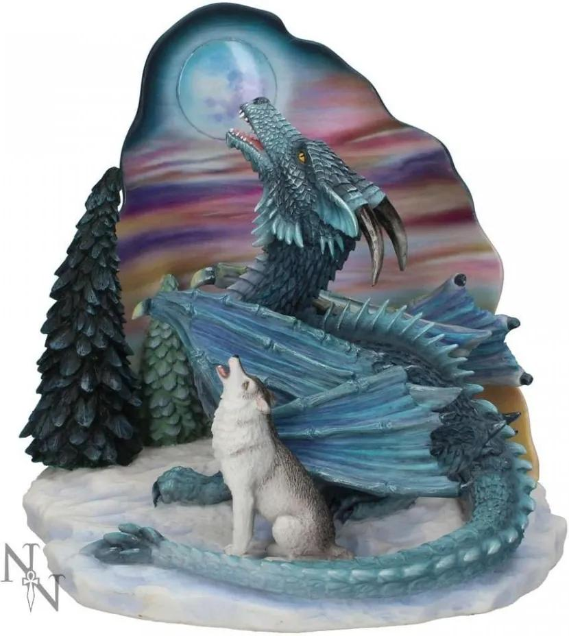 Statueta dragon si lup Cantecul lunii 26 cm Ed Beard Jr