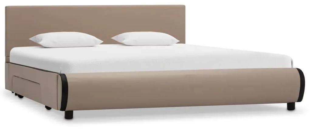 284963 vidaXL Cadru pat cu sertare, cappuccino, 140x200cm, piele artificială
