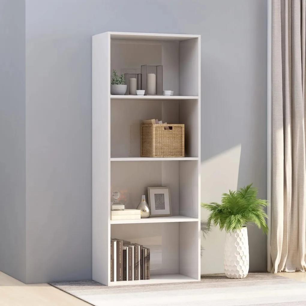 800987 vidaXL Bibliotecă cu 4 rafturi, alb extralucios, 60x30x151,5 cm, PAL