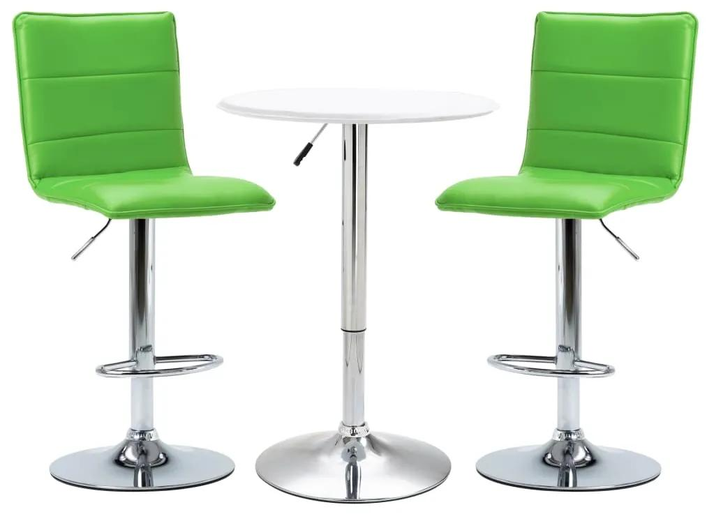 279650 vidaXL Set mobilier de bar, 3 piese, alb, piele ecologică
