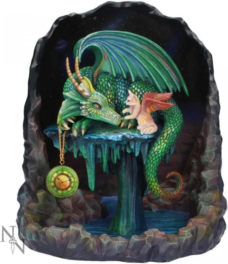 Statueta dragon si pisica Timpul de smarald 22 cm Rose Khan