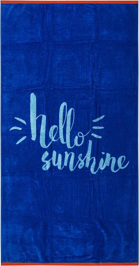 Prosop de plajă Hello Sunshine albastru, 90 x 170 cm
