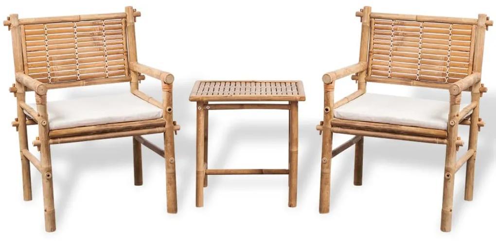 41892 vidaXL Set mobilier bistro cu perne, 3 piese, bambus