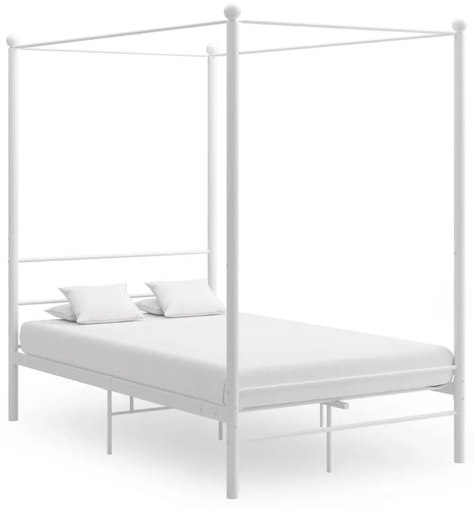 325058 vidaXL Cadru de pat cu baldachin, alb, 120x200 cm, metal