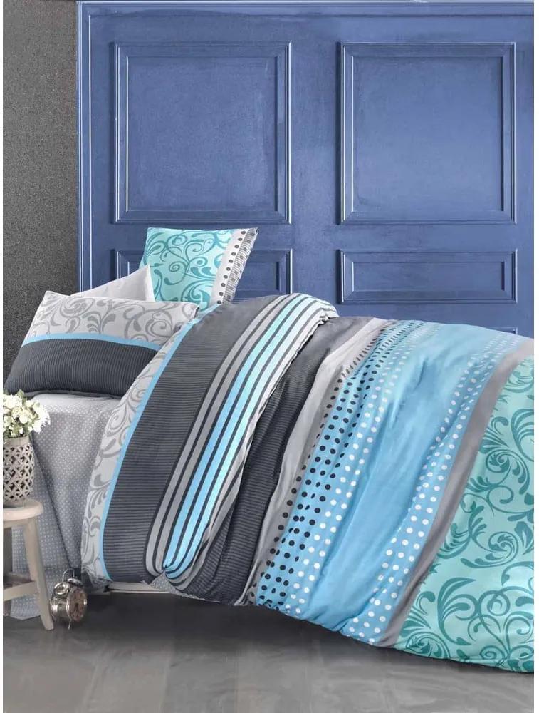 Lenjerie de pat și cearșaf din bumbac pentru pat dublu Miranda Sea, 200 x 220 cm, albastru