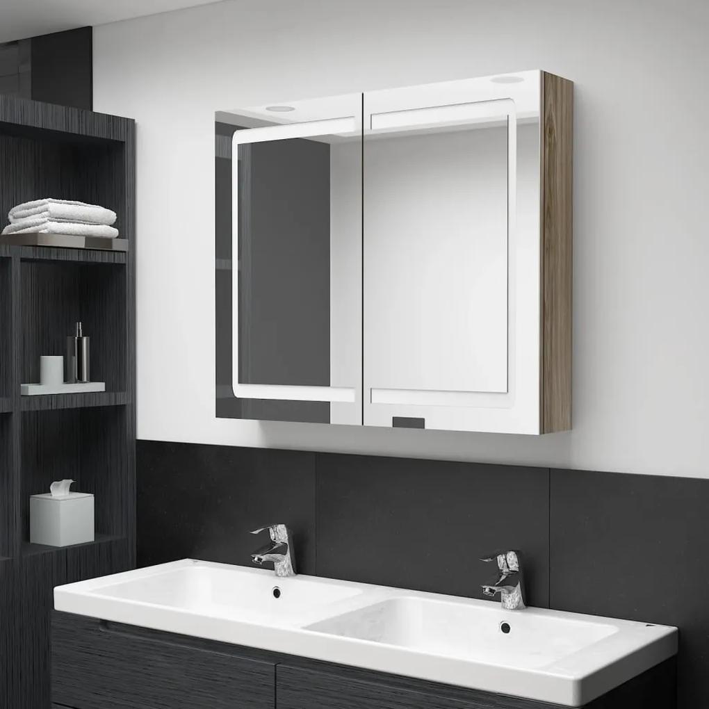 326515 vidaXL Dulap de baie cu oglindă și LED, stejar, 80x12x68 cm