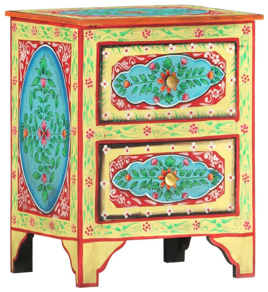 286158 vidaXL Noptieră pictată manual, 40 x 30 x 50 cm, lemn masiv de mango