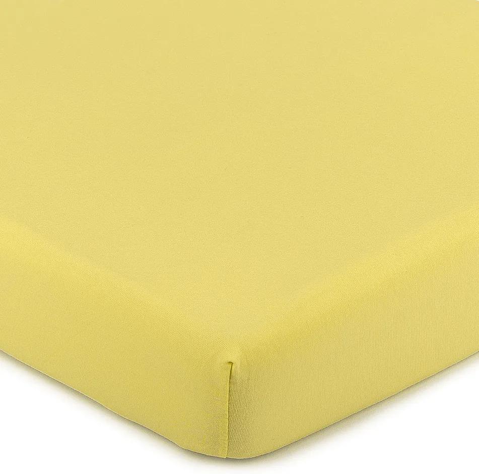 Cearşaf 4Home Jersey, cu elastan, galben, 180 x 200 cm, 180 x 200 cm