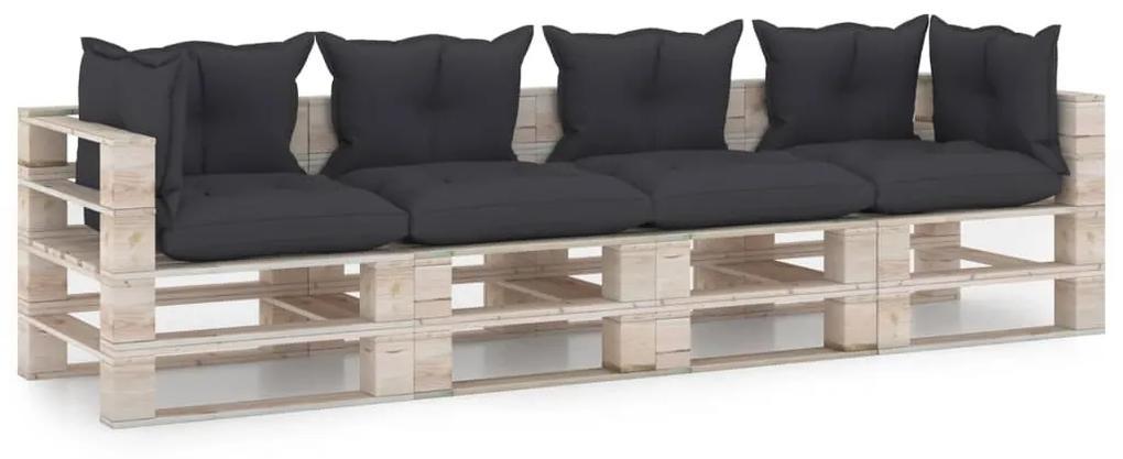 3066130 vidaXL Canapea paleți de grădină cu 4 locuri, cu perne, lemn de pin