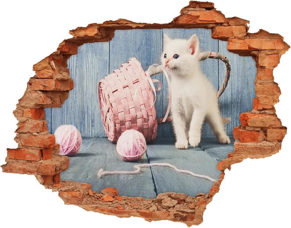 Fototapet un zid spart cu priveliște Pisică albă și colacilor