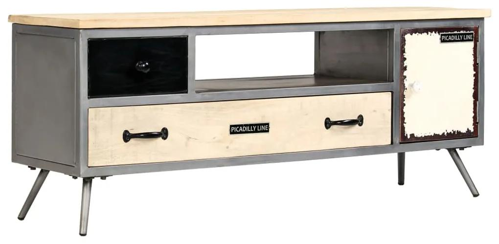 246282 vidaXL Comodă TV, 120 x 30 x 45 cm, lemn masiv de mango și oțel