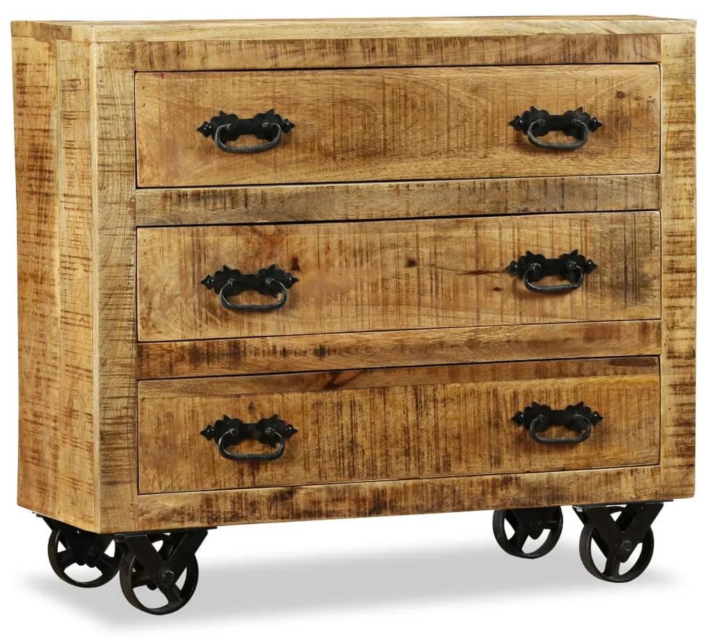 243989 vidaXL Bufet cu 3 sertare, lemn nefinisat de mango