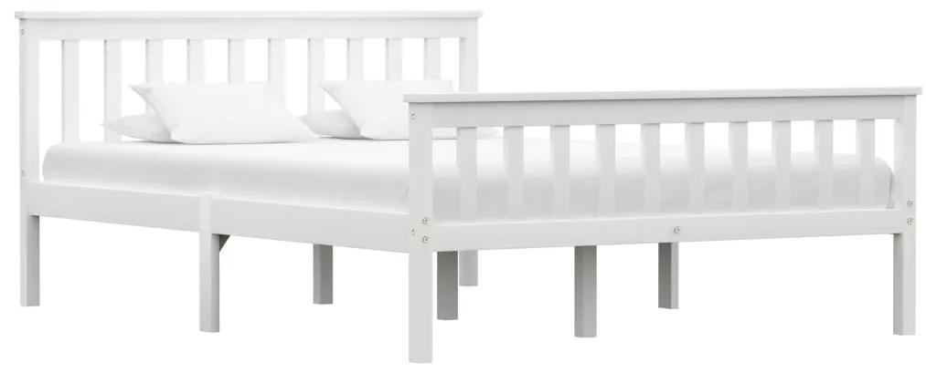 283217 vidaXL Cadru de pat, alb, 140 x 200 cm, lemn de pin masiv