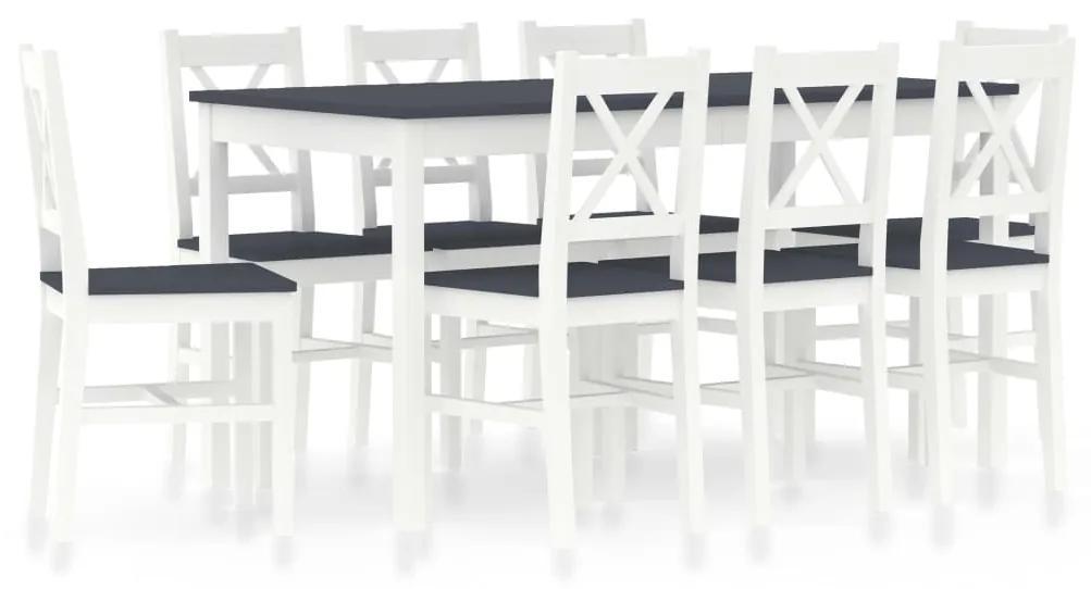 283382 vidaXL Set mobilier de bucătărie, 9 piese, alb și gri, lemn de pin