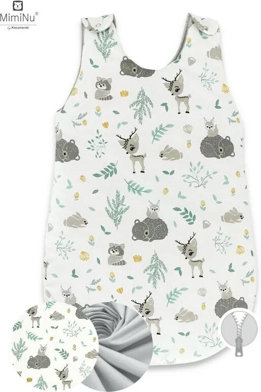 MimiNu -  Sac de dormit de iarna, 70 cm, 0 – 6 luni, Forest friends Grey/Mint