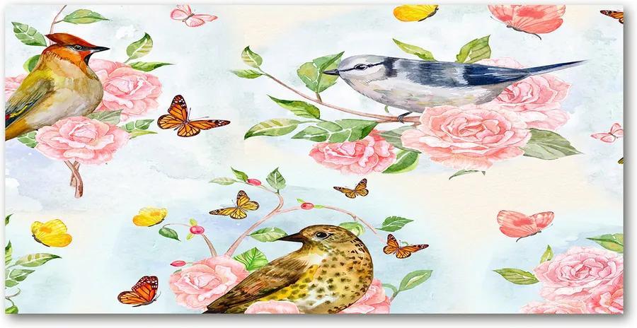 Tablou pe acril Păsări și trandafiri