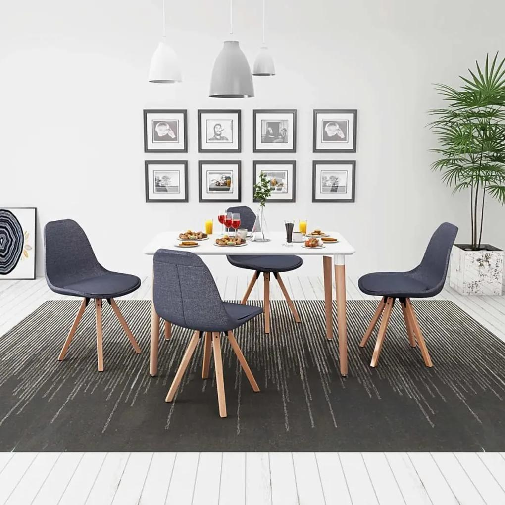243573 vidaXL Set masă și scaune de bucătărie, alb și gri închis, 5 piese